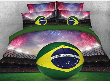 Onlwe 3D World Cup Football with Firework Printed 4-Piece Bedding Sets/Duvet Covers
