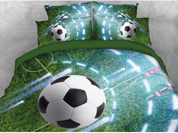 Flying Soccer on the Grass Printed 4-Piece 3D Bedding Sets/Duvet Covers