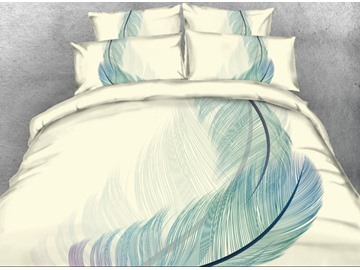 Vivilinen Exquisite Painting Feather Printed 3D 4-Piece Bedding Sets/Duvet Covers