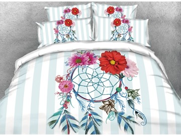 Onlwe 3D Dreamcatcher with Daisy and Blue Stripes Printed 4-Piece Bedding Sets/Duvet Covers