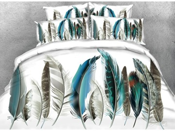 Painting Feather Printed 4-Piece White 3D Bedding Sets/Duvet Covers