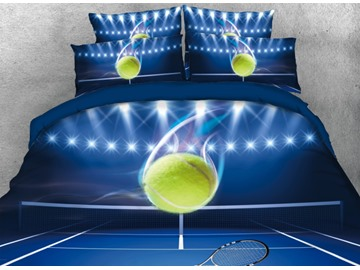Onlwe 3D Tennis Playing at the Court Printed 4-Piece Blue Bedding Sets/Duvet Covers