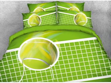 Onlwe 3D Tennis Printed 4-Piece Green Bedding Sets/Duvet Covers