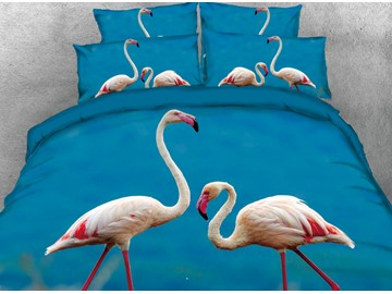 Onlwe 3D Two Vivid Flamingos Printed 4-Piece Blue Bedding Sets/Duvet Covers
