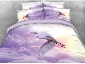 Onlwe 3D White Crane Flying in Purple Clouds Printed 4-Piece Bedding Sets/Duvet Covers