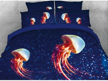 Onlwe 3D Jellyfish in Deep Blue Ocean Printed 4-Piece Bedding Sets/Duvet Covers