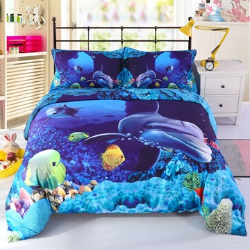 Onlwe 3D Colorful Fish in Deep Blue Ocean Printed 4-Piece Bedding Sets/Duvet Covers