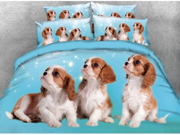 Onlwe 3D Puppies Printed 4-Piece Blue Bedding Sets/Duvet Covers