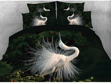 Vivilinen White Crane Dancing in the Dark Printed 4-Piece 3D Bedding Sets/Duvet Covers