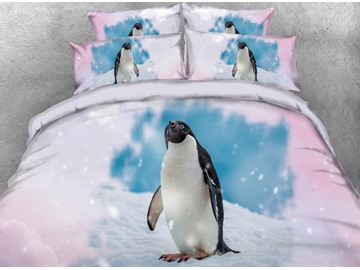 3D Cute Penguins Standing in Snow Printed 4-Piece Bedding Sets/Duvet Covers