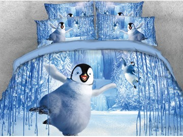 Onlwe 3D Penguins Dancing in the World of Ice and Snow Printed 4-Piece Purple Bedding Sets/Duvet Covers
