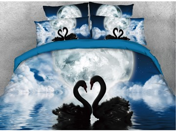 Vivilinen 3D Swan Couple in the Lake Printed Cotton 4-Piece Bedding Sets/Duvet Covers