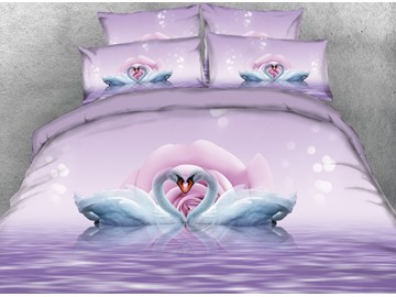 Onlwe 3D Romantic Swans in Love Printed 4-Piece Bedding Sets/Duvet Covers
