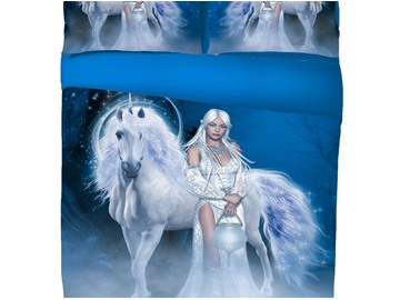 Onlwe 3D Unicorn and Sexy Girl Printed Cotton 4-Piece Bedding Sets/Duvet Covers