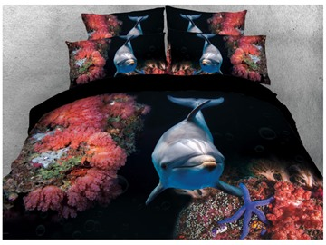 Onlwe 3D Dolphin in Underwater World Printed Cotton 4-Piece Bedding Sets/Duvet Covers