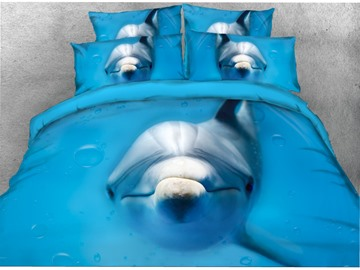 Onlwe 3D Swimming Dolphin Printed Cotton 4-Piece Blue Bedding Sets/Duvet Covers