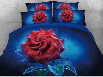 Vivilinen 3D Red Rose Printed 4-Piece Dark Blue Bedding Sets/Duvet Covers