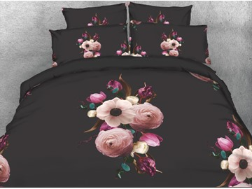 Onlwe 3D Peach Blossom Printed 4-Piece Black Bedding Sets/Duvet Covers