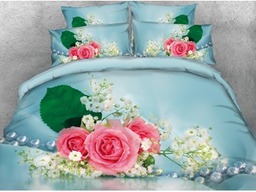 Onlwe 3D Pink Rose Printed 4-Piece Blue Bedding Sets/Duvet Covers