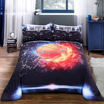 Basketball Pattern Polyester Material 3D Printing Technics Hand Wash Quilt