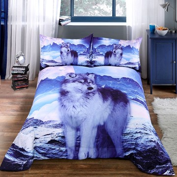 Mountain Wolf Reactive Printed Cotton 3D Quilt