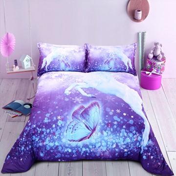 Purple Unicorn Printed Cotton All Season 3D Printing Quilt