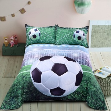 Soccer Pattern Simple Style Polyester Material 3D Printing Technics Quilt