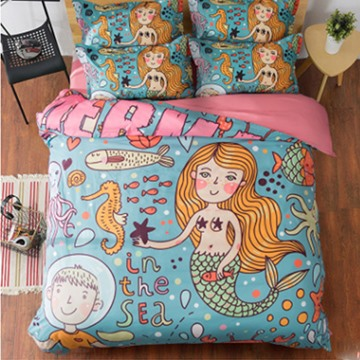Cartoon Lovely Mermaid in the Sea 3D Print 4-Piece Polyester Duvet Cover Sets for Children
