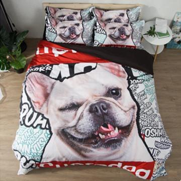 Super Dog Animal Design 3D Reactive Printed Polyester 4-Piece Bedding Sets/Duvet Covers