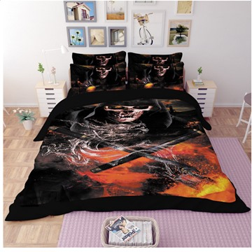 Human Skeletons & Dragon 3D Reactive Printed Polyester 4-Piece Bedding Sets/Duvet Covers