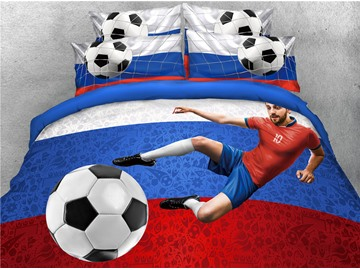 3D World Cup Group A Soccer Printed 4-Piece Bedding Sets/Duvet Covers