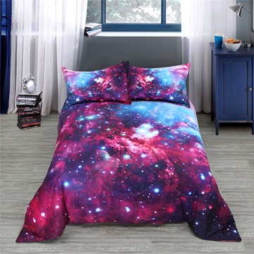 3D Stars& Multi-color Galaxy Reactive Printing Polyester Quilt