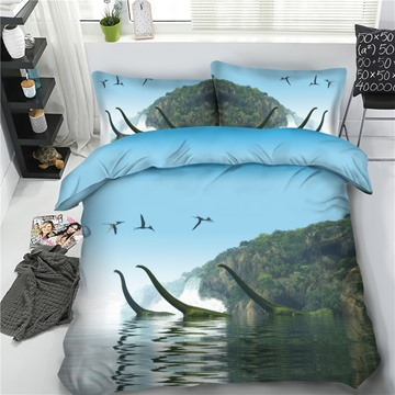Dinosaurs in Lake 3D Printing Polyester 4-Piece Bedding Sets/Duvet Cover