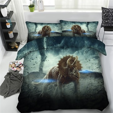 Horned Dinosaur 3D Printing Polyester Grey 4-Piece Bedding Sets/Duvet Cover