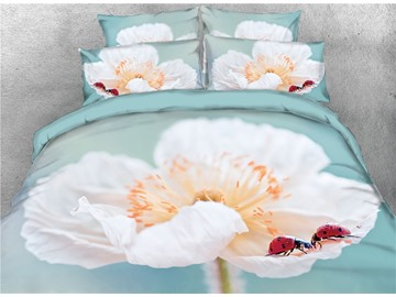 3D Flower with Ladybug Reactive Printed Cotton 4-Piece Bedding Sets
