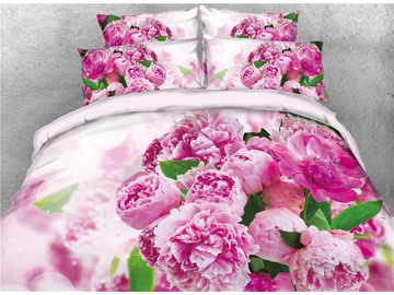 Flower Blooming 3D Reactive Printed Cotton 4-Piece Bedding Sets