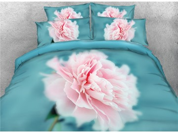Blush Pink Flower Blooming 3D Blue Printed Cotton 4-Piece Bedding Sets