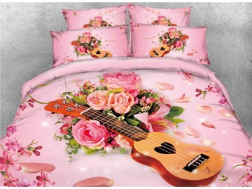 Onlwe Guitar and Rose 3D Printed Pink Cotton 4-Piece Bedding Sets