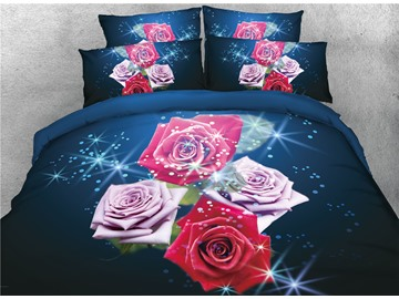 Vivilinen Red and Blush Pink Rose 3D Printed Cotton 4-Piece Bedding Sets