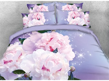 Onlwe Blooming Flower 3D Light Purple Printed Cotton 4-Piece Bedding Sets