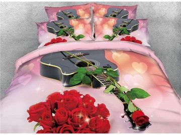 Vivilinen Guitar and Red Rose Romantic 3D Printed Cotton 4-Piece Bedding Sets