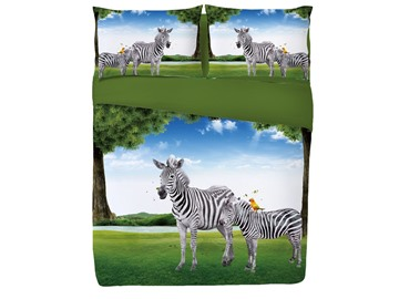 Zebra in Green Meadow Printed 4-Piece Blue 3D Bedding Sets/Duvet Covers