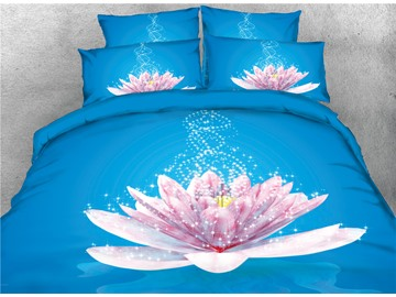 Vivilinen 3D Glittering Flower Blooming in Blue Background Printed Cotton 4-Piece Bedding Sets