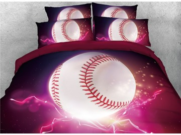 Baseball with Red Light Reactive Printed Cotton 3D 4-Piece Bedding Sets/Duvet Covers