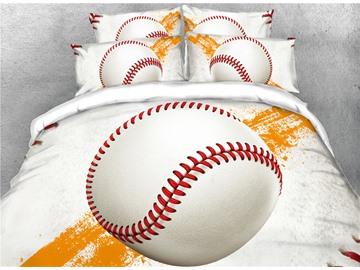 Vivilinen Baseball White 3D Printed Cotton 4-Piece Bedding Sets