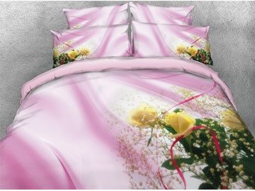 Yellow Flower Blush Pink Ribbon Printed Cotton 4-Piece 3D Bedding Sets/Duvet Covers