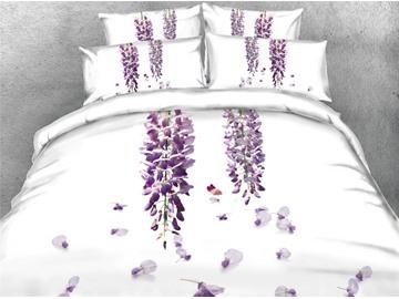 3D Purplevine White Printed Cotton 4-Piece Bedding Sets/Duvet Covers