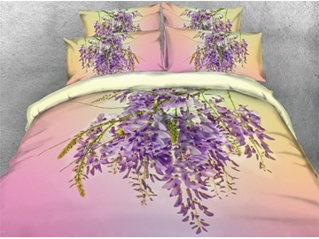3D Wisteria Flower Dreamy Printed Cotton 4-Piece Bedding Sets/Duvet Covers