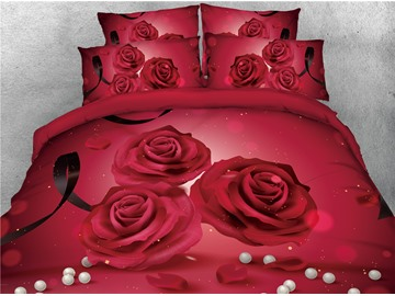 3D Red Rose and Pearl Luxury Printed Cotton 4-Piece Bedding Sets/Duvet Covers