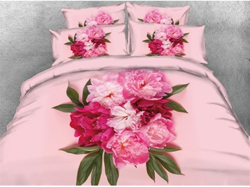 Onlwe Peonies 3D Blush Printed Cotton 4-Piece Bedding Sets/Duvet Covers